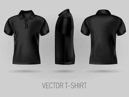 modelli di design polo a manica corta nera vista anteriore, posteriore e laterale. t-shirt vettoriale mock up Vettoriali