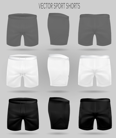 set of white, black and gray shorts. briefs for sport. realistic vector mockup