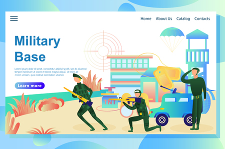 Illustration of the web page, military base on the background, corresponding attributes: weapons, explosives, military vehicle and soldiers doing military training.