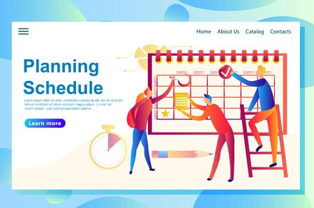 Illustration of the web concept banner planning some events together, people filling in the schedule with all corresponding products around. Concepts for website and mobile landing page.