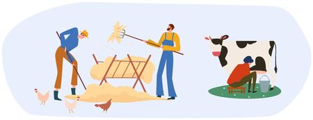 Set of farmers or agricultural workers are working on the farm with domestic animals. The milkmaid is milking the cow and men gathering hay near some chickens. Vector illustration.