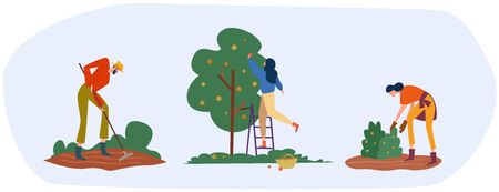 Set of farmers or agricultural workers are working on the farm. People are working on the garden collecting apples and growing vegetables. Vector illustration.