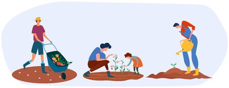 Set of farmers or agricultural workers are working on the farm. Process of planting, carrying and growing vegetables by different people. Work in the garden. Vector illustration.