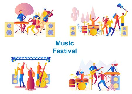 Set of bands performing on stage. Men and woman artists outfit playing with musical Instruments, music concert. music festival concept.