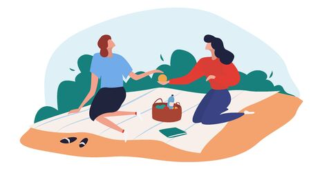 Women have picnic on the beach. Resting outside having some meal together, families and couples having lunch. Flat cartoon vector illustration. Vettoriali