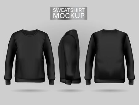 Blank mens black sweatshirt in front, back and side views. Vector illustration. Realistic male clothes for sport and urban style