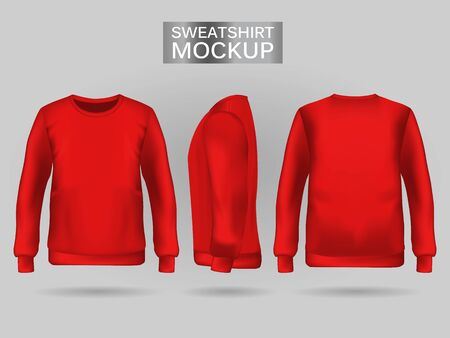 Blank mens red sweatshirt in front, back and side views. Vector illustration. Realistic male clothes for sport and urban style