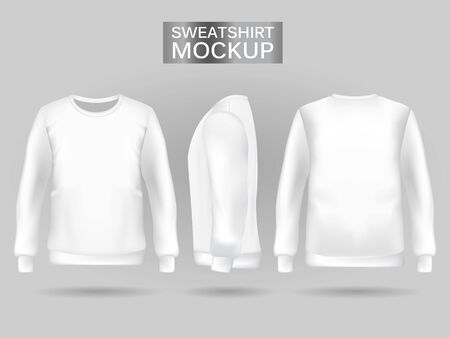Blank mens white sweatshirt in front, back and side views. Vector illustration. Realistic male clothes for sport and urban style