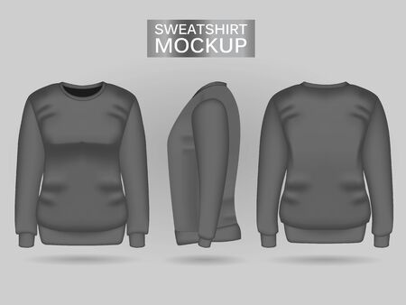 Blank womens gray sweatshirt in front, back and side views. Vector illustration. Realistic female clothes for sport and urban style