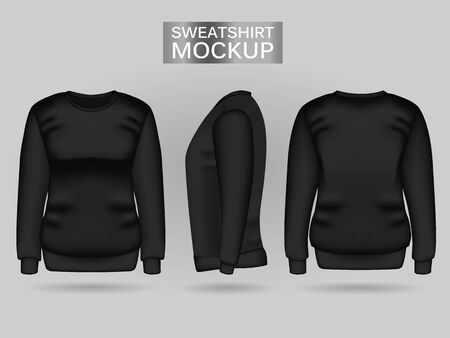 Blank womens black sweatshirt in front, back and side views. Vector illustration. Realistic female clothes for sport and urban style