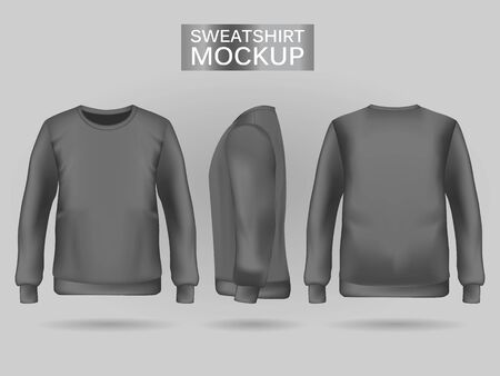 Blank mens gray sweatshirt in front, back and side views. Vector illustration. Realistic male clothes for sport and urban style