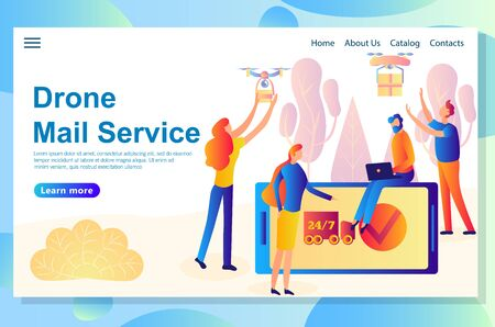 Web landing page design template for different kinds and stages of delivery services, the process includes human and digital parts