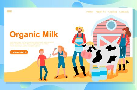 Web landing page design template for eco farm theme. Friendly Carrying of domestic animals on the farm: cows, sheeps, chickens and bees