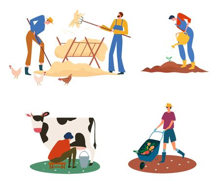 Set of farmers or agricultural workers on the farm with domestic animals. The milkmaid is milking the cow and men carrying and growing vegetables, gathering hay. Vector illustration.