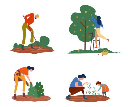 Set of farmers or agricultural workers on the farm. People are working on the garden collecting apples and growing vegetables, planting, carrying and growing vegetables. Vector illustration.
