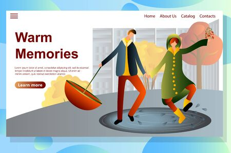 Time together concept. Wet Rainy Autumn or Spring Weather Website Landing Page Set, Drenched People Wear Cloaks and Boots with Umbrellas Walking in Rain, Outdoors Promenade Web Page.