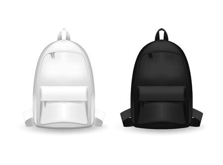 Realistic Detailed 3d Black and white Blank School Backpack. Empty Template Mockup Set of rucksack. Vector illustration of Mock Up Bag