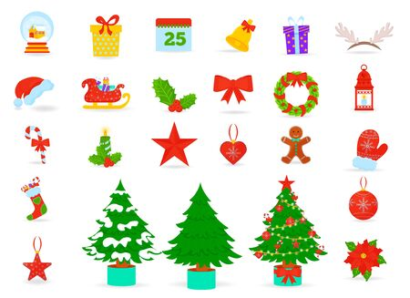 Christmas symbols flat vector icons set. Santa hat, gift boxes and xmas socks. Christmas trees with toys and gingerbread isolated flat vector set. Kids vacation fun and celebration illustrations  イラスト・ベクター素材