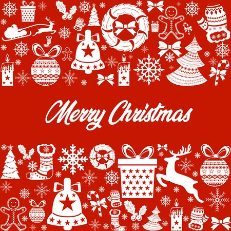 merry christmas colorful icon elements card red background
