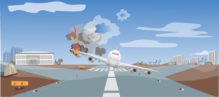 Air crash, air catastrophe, emergency landing of the plane, critical situation, passengers in danger  イラスト・ベクター素材