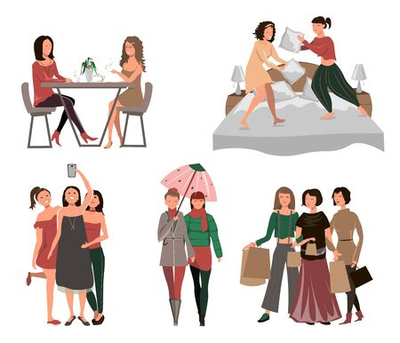 Girls time together, girls having tea, playing with pillows in the bedroom, girls make selfie, fashion look, shopping time, have fun
