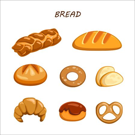 Bakery and pastry products icons set with various sorts of bread, rye, whole grain and wheat bread sweet buns, cupcakes, and cakes for bakery shop or food design Illustration