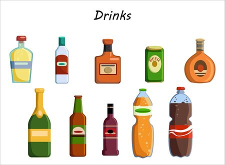Alcohol drinks collection. Bottles with glasses. Vodka champagne wine whiskey beer brandy tequila cognac liquor vermouth gin rum absinthe sambuca cider bourbon. Vector illustration in flat style Illusztráció