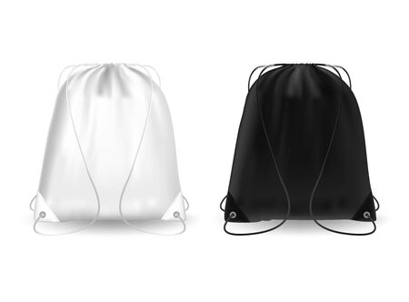 Blank template white and black backpack with ropes. Sport bag, school, gym and fitness pouch 3D realistic mockup on white background.