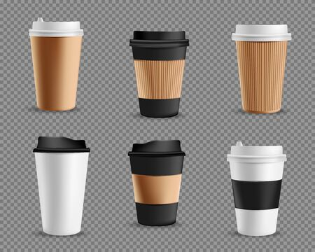 Set of realistic blank mockup paper cups. Coffee to go, take out mug. Vector illustration isolated on transparent background