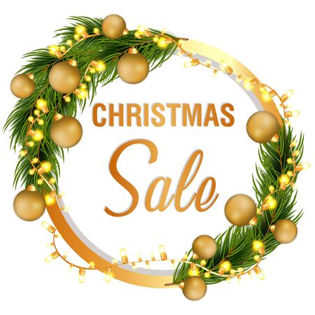 Christmas sale off template with fir tree and decorations. Winter Festive holiday template. Seasonal advertising for banner, poster
