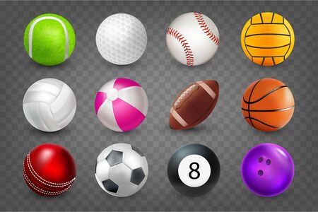 Realistic sports balls for playing games vector illustrations set. Round sports equipment icons isolated on transparent background. Illustration of soccer and baseball, tennis, bowling, tennis, golf.