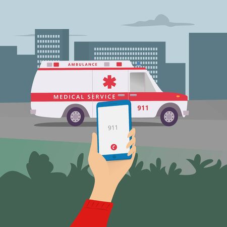 Emergency call, 911, police, ambulance, fire department, call, phone in hand. Flat vector illustration.