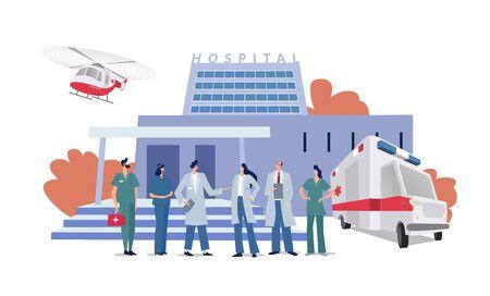 Medizinisches Konzept mit Krankenhausgebäude und Arzt im flachen Stil. Panoramahintergrund mit Krankenhausgebäude, medizinischem Personal, Ärzten, Krankenschwestern, Krankenwagen und Hubschrauber im flachen Stil. Vektorgrafik