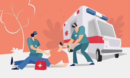 Healthcare providers provide assistance in an emergency. Medical concept with doctors, nurses, and ambulance cars. Flat vector illustration.