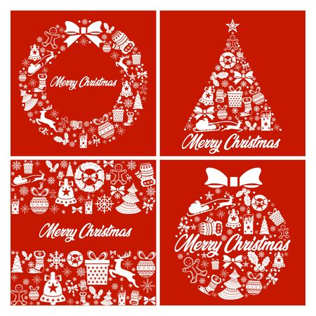 set of merry christmas colorful icon elements card red background. Happy New Year card