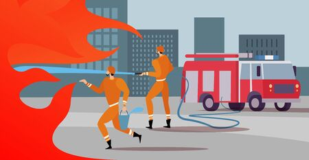Firefighters are on the mission extinguish the blaze, with a help of fire engine save burning skyscrapers in the city streets. Firefighters service work concept.