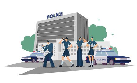 Police department with officers in uniform, cars and city landscape. Policemen work at the department. Illustration shows common sense of police service, general positions of officers.