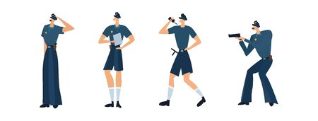 set of different men police officers in police uniform with various weapons in their hands in various poses on a white background. Policemen. Vector illustration.