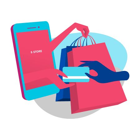 Online store concept, demonstrates easy payment using credit card and fast delivery service. Ads for e-commerce website, online shopping platforms and applications.