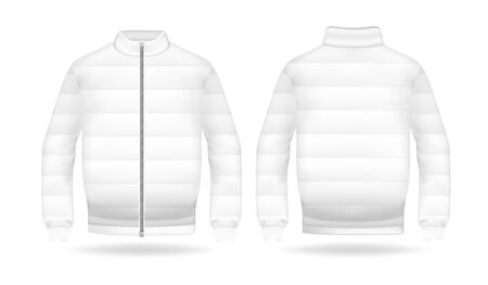 Realistic mockup of jacket or puffer coat. Mens and womens Jacket with long sleeves. Clothes in light, white colors. Template warm apparel with zipping. Front and back view Illusztráció