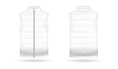 Realistic mockup of jacket or puffer waistcoat. Sleeveless men and women jacket. Clothes in light, white colors. Template warm apparel with zipping. Front and back view