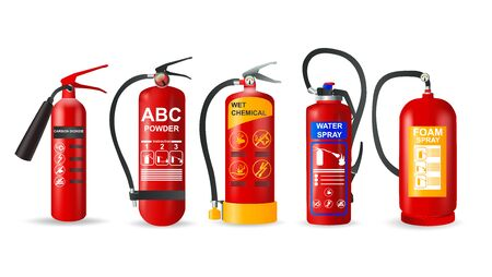 Fire extinguisher vector set. Realistic fire-fighting units and protection of fire on transparent background