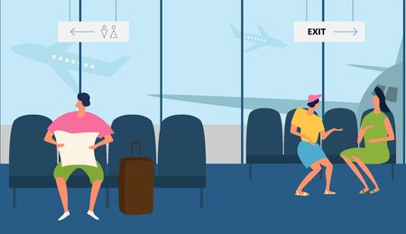 People in the airport duty free zone, rest before boarding on the plane. Vector illustration in a flat style Illusztráció