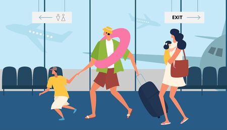 People in the airport duty free zone, rest before boarding on the plane. Family travel. Father mother and son at the airport. Vector illustration in a flat style