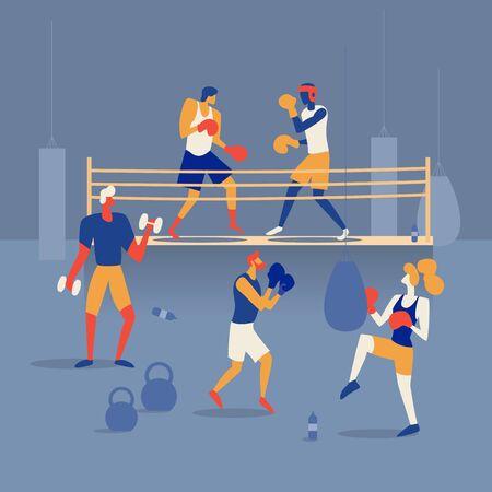 Die Leute boxen auf dem Ring, trainieren im Fitnessstudio mit Boxsack und Langhanteln. Flache Vektorillustration
