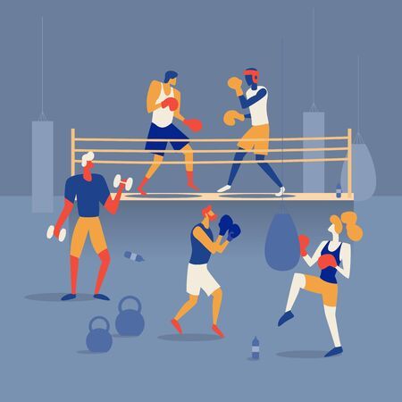 People are boxing on the ring, training in the gym with a boxing bag and barbells. Flat Vector Illustration