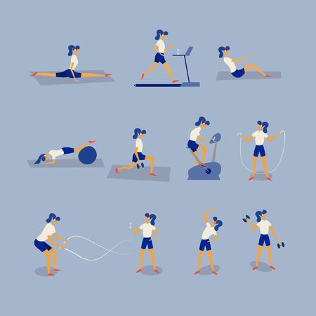 Women workout fitness, aerobic and exercises. Lunges and squats, plank and abc. Flat Vector Illustration