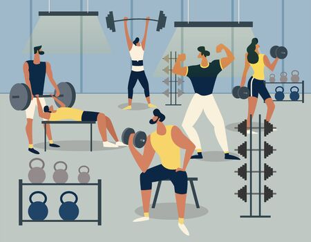 Training in the gym with barbells and dumbbells, Men exercise with different barbell sets. Fitness and lifting weights. Healthy lifestyle. Flat Vector Illustration