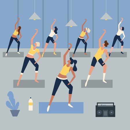 Women fitness training lesson, training with steps aerobic exercises. Sports people, health and jumping, vector illustration