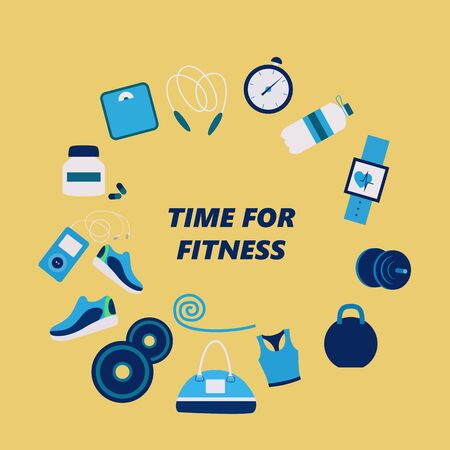 Fitness attributes for man and woman, different sport gadgets, sport wear and training gear. Flat Vector Illustration Illusztráció